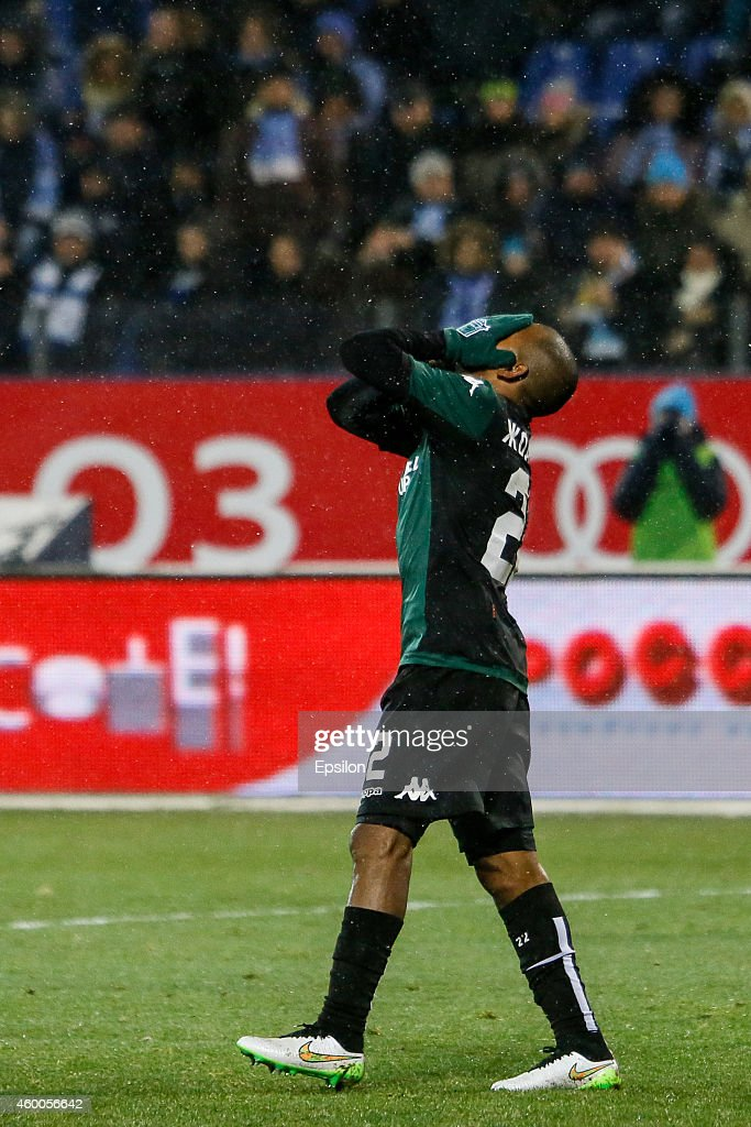 Joaozinho of FC Krasnodar reacts after missing his chance during the Russian Football League Championship match between FC Zenit St. Petersburg and FC Krasnodar at the Petrovsky stadium on December 6, 2014 in St. Petersburg, Russia.