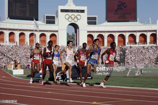 Joaquim Cruz of Brazil races to the gold medal against Edwin Koech Sebastian Coe and Earl Jones during the final of the Men's 800 metres event at the...