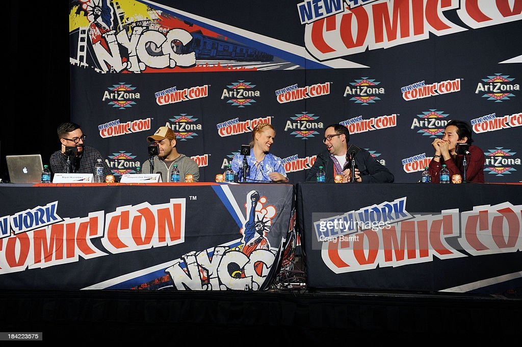 Joaquim Dos Santos, Bryan Konietzko, Janet Varney, PJ Byrne and Steve Yeun attend the Korra panel at the 2013 New York Comic Con at Javits Ceter on October 12, 2013 in New York City.