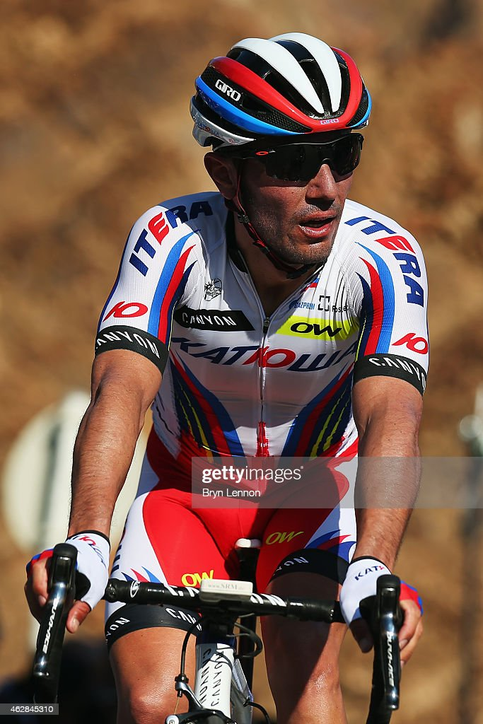 <a gi-track='captionPersonalityLinkClicked' href=/galleries/search?phrase=Joaquim+Rodriguez&family=editorial&specificpeople=681064 ng-click='$event.stopPropagation()'>Joaquim Rodriguez</a> of Spain and Team Katusha crosses the finish line on stage three of the Dubai Tour from the Dubai International Marine Club to Hatta Dam on February 6, 2015 in Oman, United Arab Emirates.