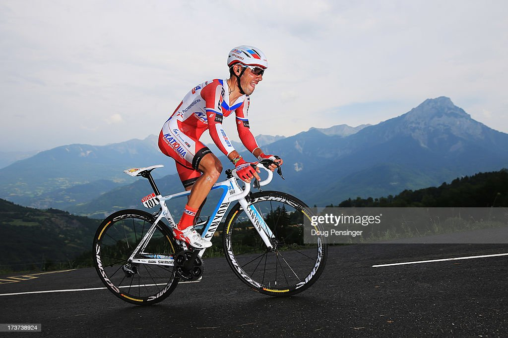 <a gi-track='captionPersonalityLinkClicked' href=/galleries/search?phrase=Joaquim+Rodriguez&family=editorial&specificpeople=681064 ng-click='$event.stopPropagation()'>Joaquim Rodriguez</a> of Spain and Team Katusha rides during stage seventeen of the 2013 Tour de France, a 32KM Individual Time Trial from Embrun to Chorges, on July 17, 2013 in Chorges, France.