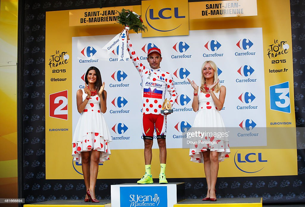 Joaquim Rodriguez of Spain and Team Katusha stands on the podium wearing the King of the Mountains jersey after Stage Eighteen of the 2015 Tour de France, a 186.5km stage between Gap and Saint-Jean-de-Maurienne on July 23, 2015 in Saint-Jean-de-Maurienne, France.