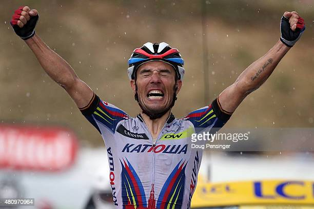Joaquim Rodriguez of Spain riding for Team Katusha celebrates as he crosses the finish line to win stage 12 of the 2015 Tour de France from...