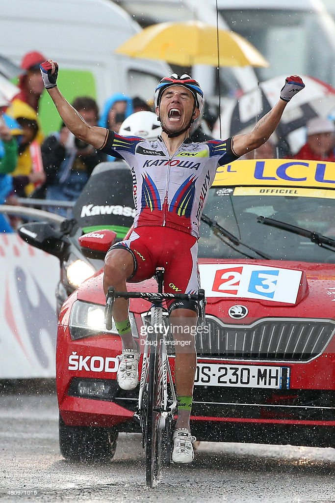 <a gi-track='captionPersonalityLinkClicked' href=/galleries/search?phrase=Joaquim+Rodriguez&family=editorial&specificpeople=681064 ng-click='$event.stopPropagation()'>Joaquim Rodriguez</a> of Spain riding for Team Katusha celebrates as he crosses the finish line to win stage 12 of the 2015 Tour de France from Lannemezan to Plateau de Belle on July 16, 2015 in Plateau de Beille, France.