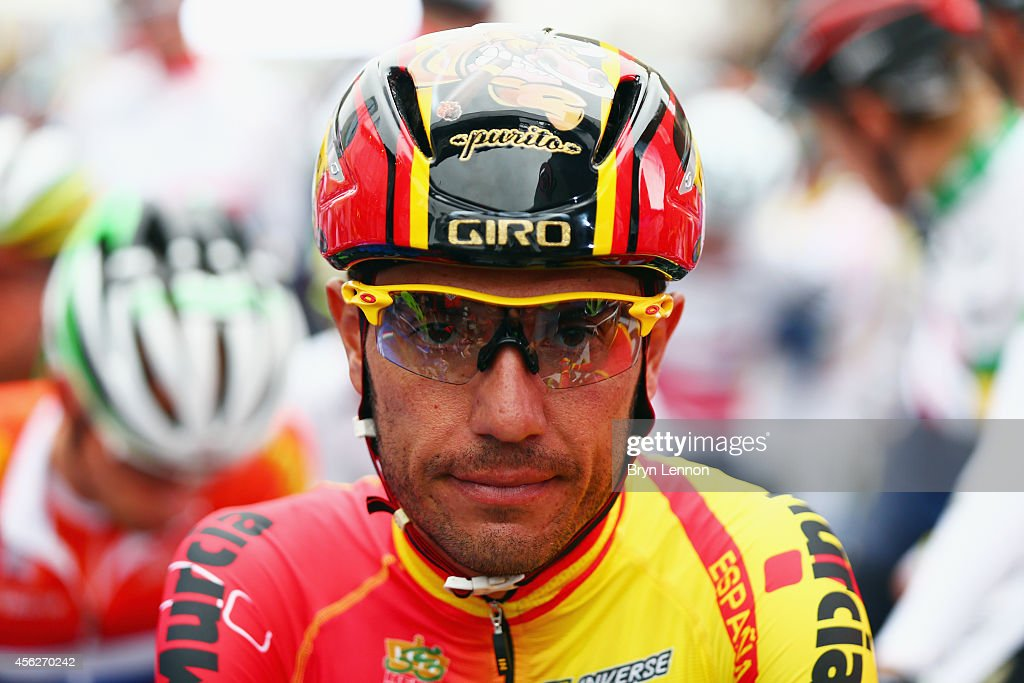 Joaquim Rodriguez of Spain waits for the start of the Elite Men's Road Race on day seven of the UCI Road World Championships on September 28, 2014 in Ponferrada, Spain.