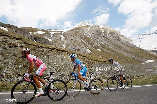 Joaquim Rodriguez of Spain wearing the leader pink jersey climbs during the 219 km 20th stage from Caldes to Passo dello Stelvio of the Tour of Italy...