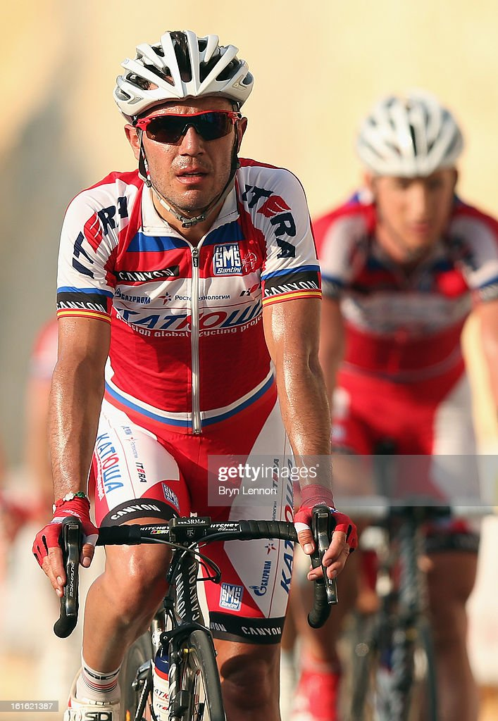 Joaquim Rodriquez of Spain and Katusha crosses the finishline on stage three of the 2013 Tour of Oman from Nakhal Fort to Wadi Dayqah Dam on February 13, 2013 in Wadi Dayqah Dam, Oman.