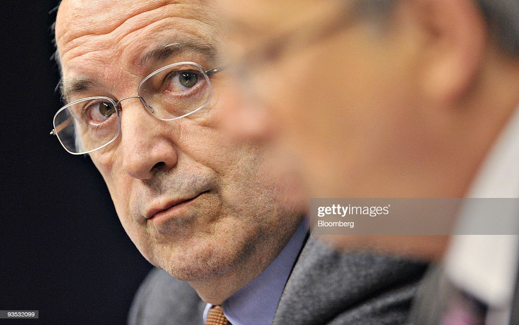 <a gi-track='captionPersonalityLinkClicked' href=/galleries/search?phrase=Joaquin+Almunia&family=editorial&specificpeople=5521769 ng-click='$event.stopPropagation()'>Joaquin Almunia</a>, commissioner for economic and monetary affairs for the European Union and incoming chief of antitrust for the European Commission, left, listens as <a gi-track='captionPersonalityLinkClicked' href=/galleries/search?phrase=Jean-Claude+Juncker&family=editorial&specificpeople=207032 ng-click='$event.stopPropagation()'>Jean-Claude Juncker</a>, Luxembourg's prime minister and president of the Eurogroup, speaks during a news conference following a meeting of EU finance ministers in Brussels, Belgium, on Tuesday, Dec. 1, 2009. European finance chiefs renewed calls for China to let its currency appreciate amid concern that the strengthening euro may undermine the region's economic recovery. Photographer: Jock Fistick/Bloomberg via Getty Images News