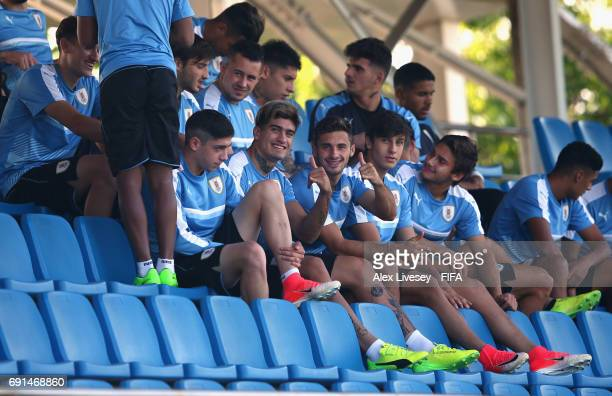 Joaquin Ardaiz of Uruguay and team mates look on during a training session at the Daejeon World Cup Stadium training pitches during the FIFA U20...