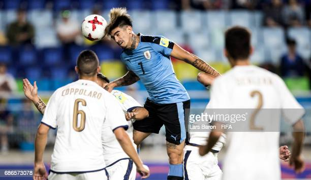 Joaquin Ardaiz of Uruguay goes up for a header during the FIFA U20 World Cup Korea Republic 2017 group D match between Italy and Uruguay at Suwon...