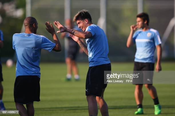 Joaquin Ardaiz of Uruguay jokes during a training session at the Daejeon World Cup Stadium training pitches during the FIFA U20 World Cup on June 2...