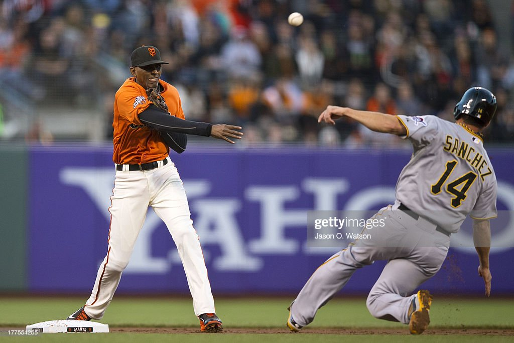 Joaquin Arias #13 of the San Francisco Giants completes a double play over <a gi-track='captionPersonalityLinkClicked' href=/galleries/search?phrase=Gaby+Sanchez&family=editorial&specificpeople=4945789 ng-click='$event.stopPropagation()'>Gaby Sanchez</a> #14 of the Pittsburgh Pirates during the second inning at AT&T Park on August 23, 2013 in San Francisco, California.