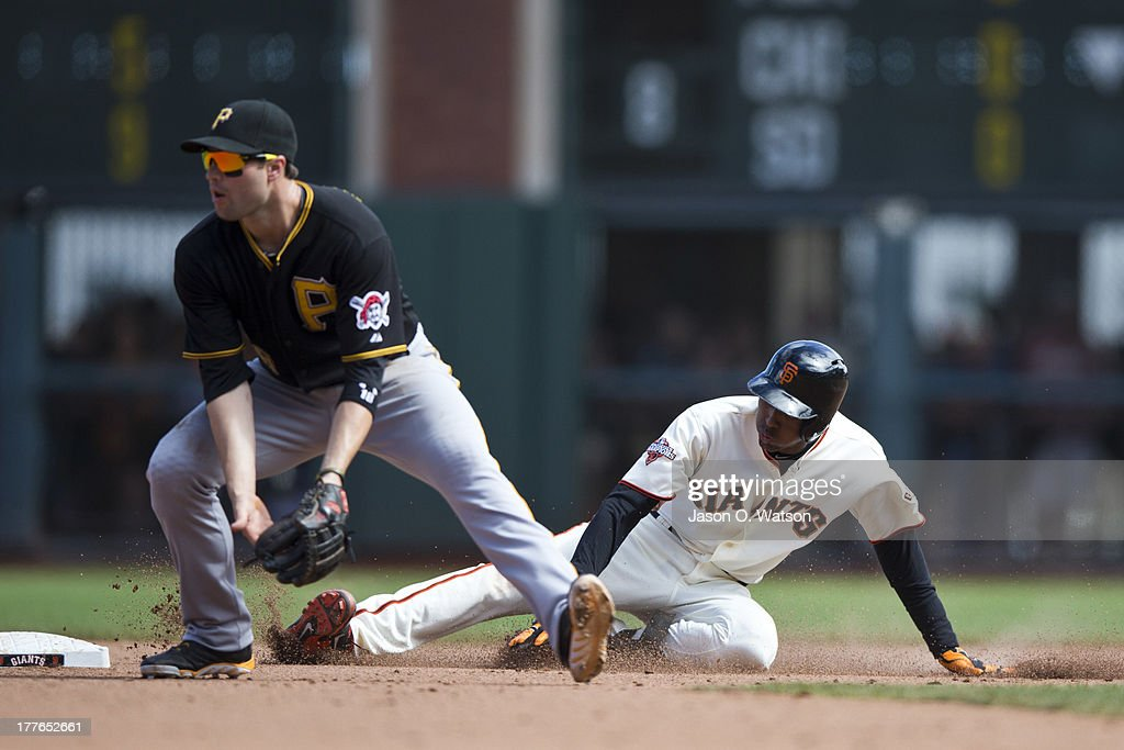 Joaquin Arias #13 of the San Francisco Giants slides into second base behind Neil Walker #18 of the Pittsburgh Pirates for an RBI double during the eighth inning at AT&T Park on August 25, 2013 in San Francisco, California.