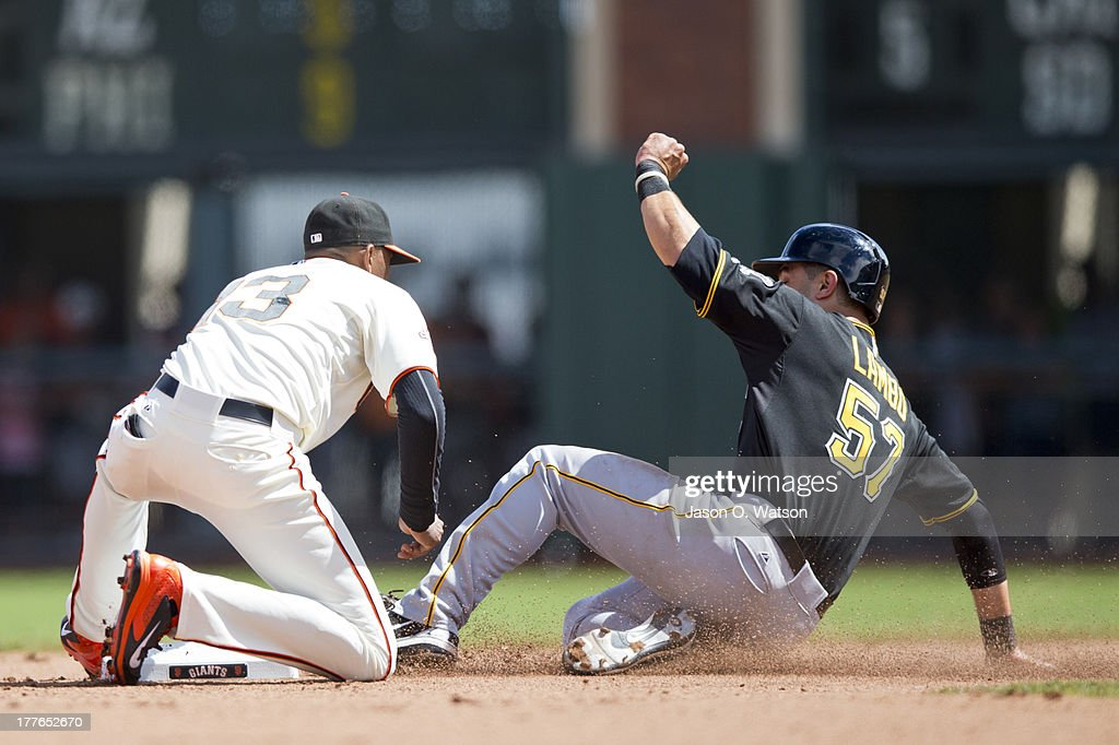 Joaquin Arias #13 of the San Francisco Giants tags out Andrew Lambo #57 of the Pittsburgh Pirates on an attempted steal of second base during the fifth inning at AT&T Park on August 25, 2013 in San Francisco, California.