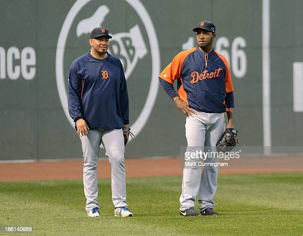 Joaquin Benoit and Jose Veras of the Detroit Tigers look on during workouts prior to the American League Championship Series against the Boston Red...