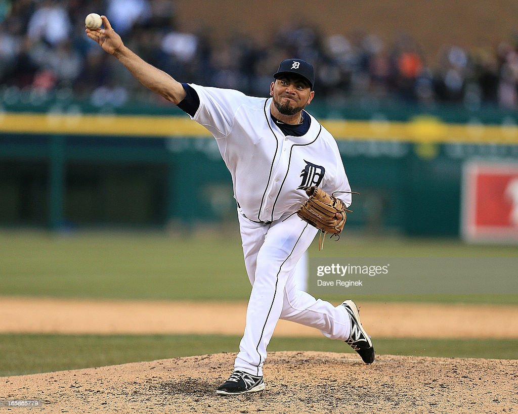 <a gi-track='captionPersonalityLinkClicked' href=/galleries/search?phrase=Joaquin+Benoit&family=editorial&specificpeople=216491 ng-click='$event.stopPropagation()'>Joaquin Benoit</a> #53 of the Detroit Tigers pitches in the ninth inning against the New York Yankees at Comerica Park on April 6, 2013 in Detroit, Michigan.
