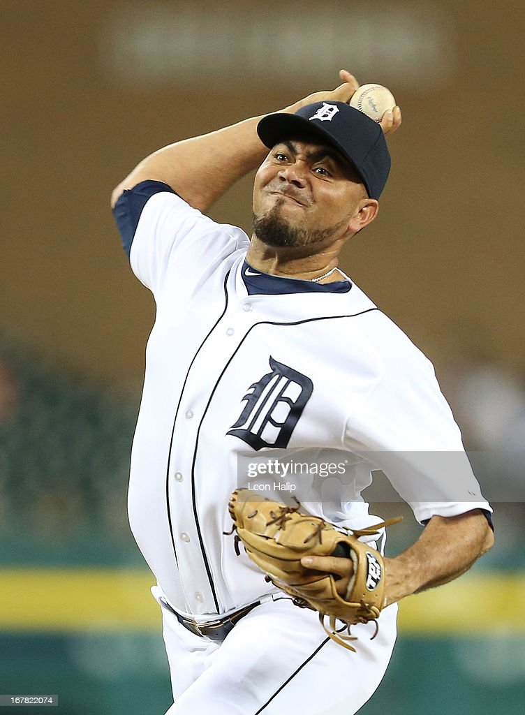 Joaquin Benoit #53 of the Detroit Tigers pitches in the ninth inning during the game against the Minnesota Twins at Comerica Park on April 30, 2013 in Detroit, Michigan. The Tigers defeated the Twins 6-1.