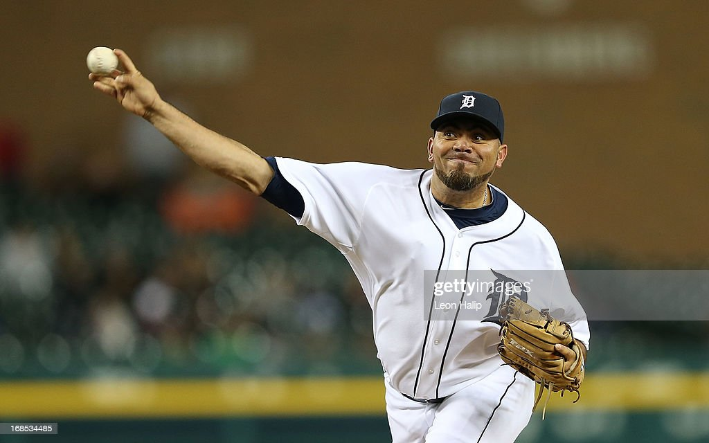 Joaquin Benoit #53 of the Detroit Tigers pitches in the ninth inning during the game against the Cleveland Indians at Comerica Park on May 10, 2013 in Detroit, Michigan. The Tigers defeated the Indians 10-4.