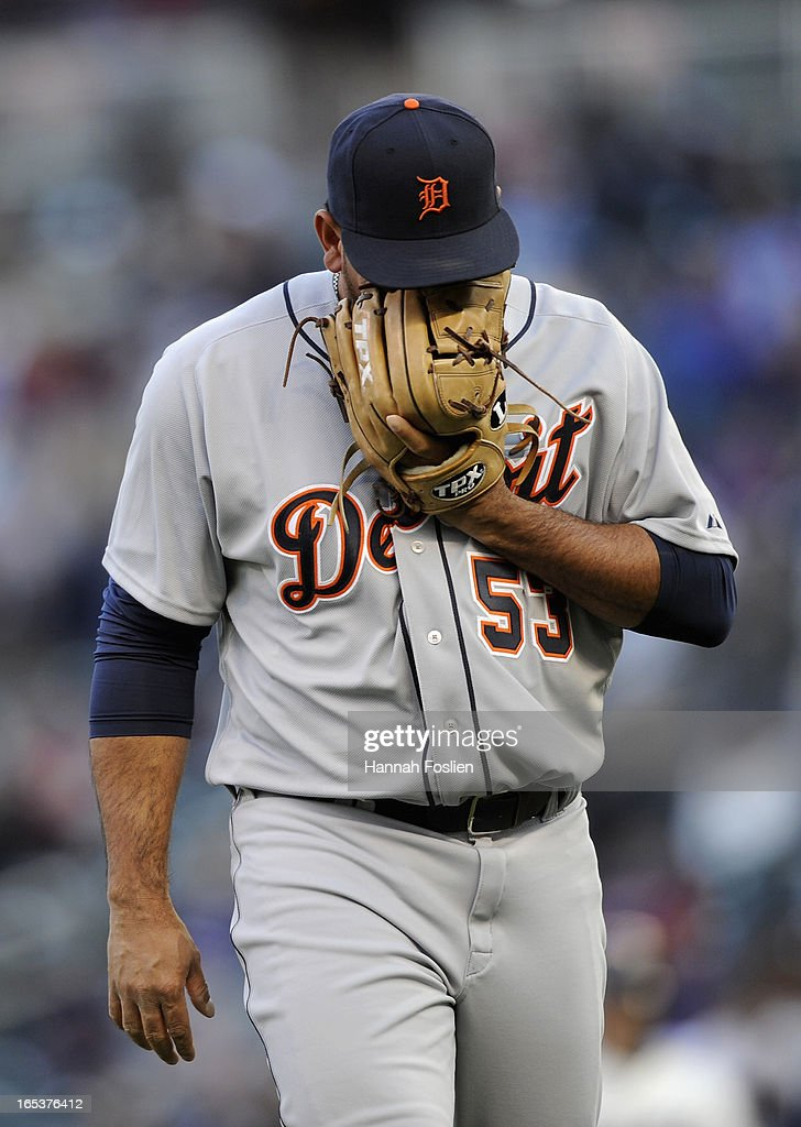 Joaquin Benoit #53 of the Detroit Tigers reacts as he leaves the game during the ninth inning against the Minnesota Twins on April 3, 2013 at Target Field in Minneapolis, Minnesota. The Twins defeated the Tigers 3-2.