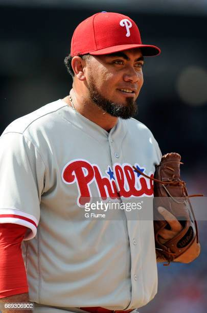 Joaquin Benoit of the Philadelphia Phillies celebrates after a 42 victory against the Washington Nationals at Nationals Park on April 15 2017 in...