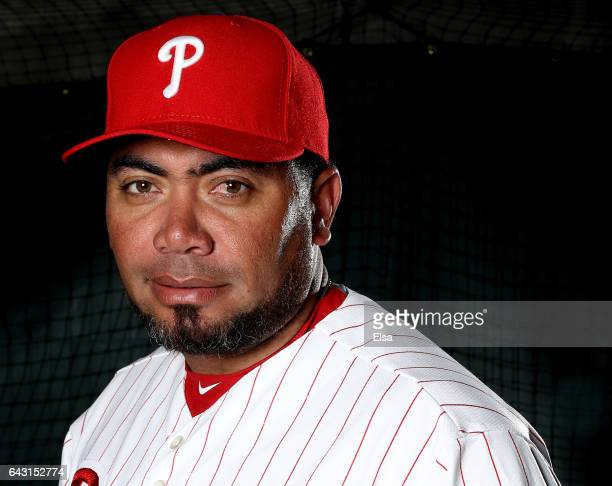 Joaquin Benoit of the Philadelphia Phillies poses for a portrait during the Philadelphia Phillies photo day on February 20 2017 at Spectrum Field in...