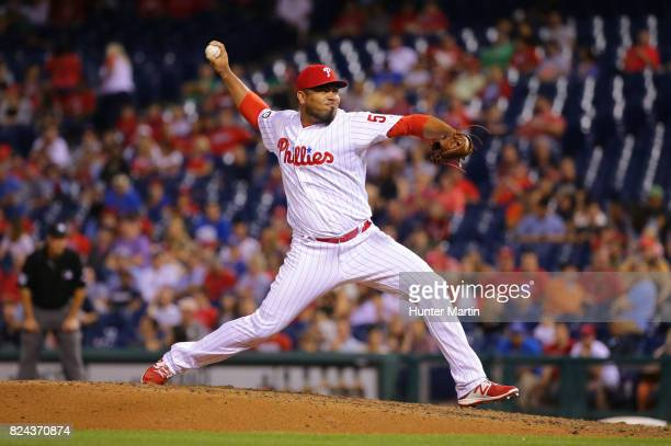 Joaquin Benoit of the Philadelphia Phillies throws a pitch during a game against the Houston Astros at Citizens Bank Park on July 26 2017 in...