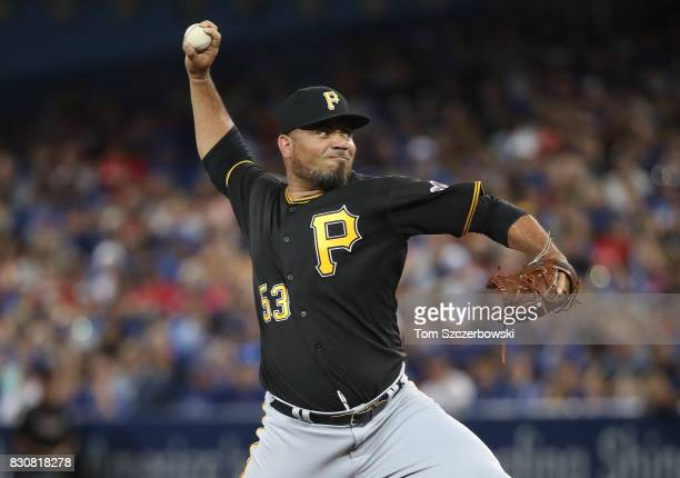 Joaquin Benoit of the Pittsburgh Pirates delivers a pitch in the seventh inning during MLB game action against the Toronto Blue Jays at Rogers Centre...