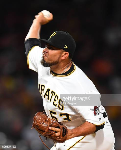 Joaquin Benoit of the Pittsburgh Pirates in action during the game against the Cincinnati Reds at PNC Park on August 2 2017 in Pittsburgh Pennsylvania