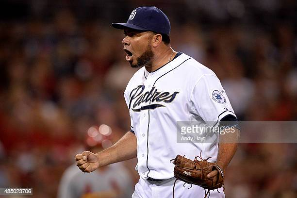 Joaquin Benoit of the San Diego Padres celebrates after pitching the eighth inning during the game against the St Louis Cardinals at Petco Park on...