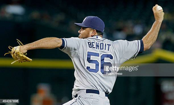 Joaquin Benoit of the San Diego Padres delivers a pitch against the Arizona Diamondbacks during the ninth inning of a MLB game at Chase Field on...