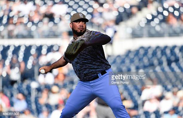 Joaquin Benoit of the San Diego Padres pitches during a baseball game against the San Francisco Giants at Petco Park September 2014 in San Diego...