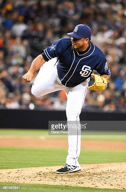 Joaquin Benoit of the San Diego Padres pitches during a baseball game against the San Francisco Giants at Petco Park April 19 2014 in San Diego...