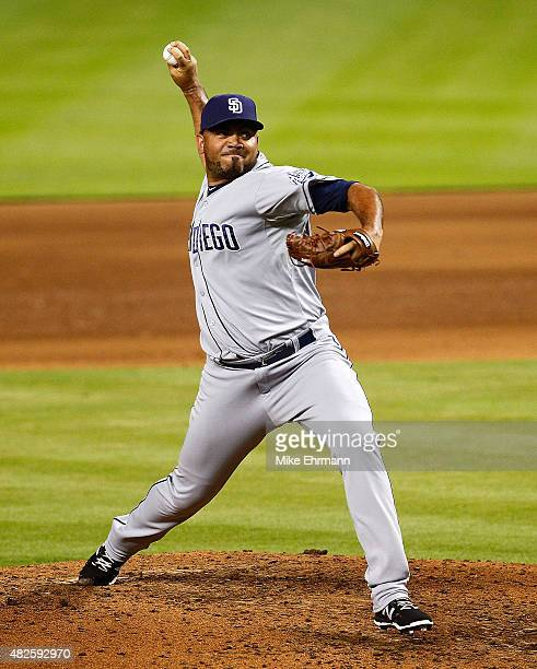 Joaquin Benoit of the San Diego Padres pitches during a game against the Miami Marlins at Marlins Park on July 31 2015 in Miami Florida