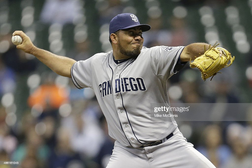 Joaquin Benoit #56 of the San Diego Padres pitches during the bottom of the eighth inning against the Milwaukee Brewers at Miller Park on April 22, 2014 in Milwaukee, Wisconsin.