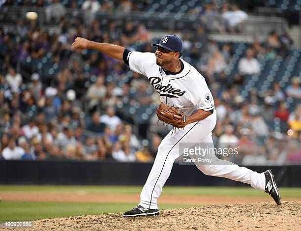 Joaquin Benoit of the San Diego Padres pitches during the eighth inning of a baseball game against the Milwaukee Brewers at Petco Park October 1 2015...