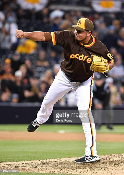 Joaquin Benoit of the San Diego Padres pitches during the game against the Chicago Cubs at Petco Park on May 23 2014 in San Diego California