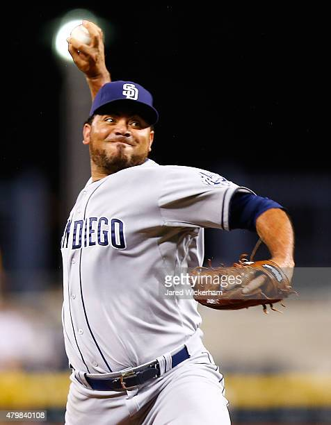 Joaquin Benoit of the San Diego Padres pitches in the eighth inning against the Pittsburgh Pirates during the game at PNC Park on July 7 2015 in...