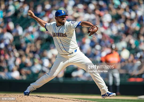 Joaquin Benoit of the Seattle Mariners delivers a pitch during a game against the Houston Astros at Safeco Field on July 17 2015 in Seattle...