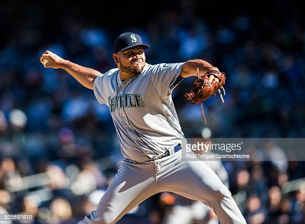 Joaquin Benoit of the Seattle Mariners pitches during the game against the New York Yankees at Yankee Stadium on April 16 2016 in the Bronx borough...