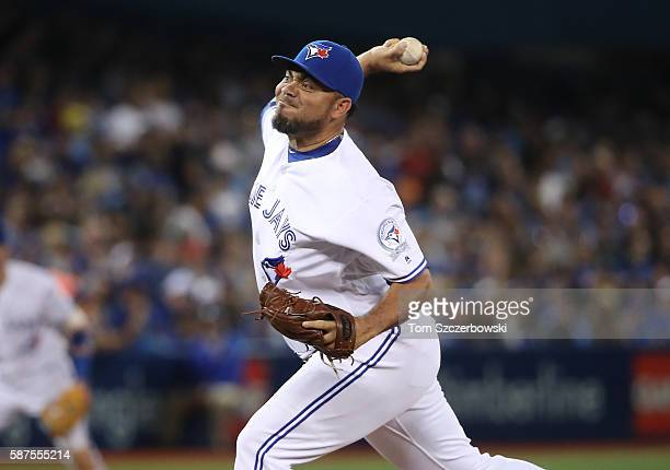 Joaquin Benoit of the Toronto Blue Jays delivers a pitch in the seventh inning during MLB game action against the Tampa Bay Rays on August 8 2016 at...