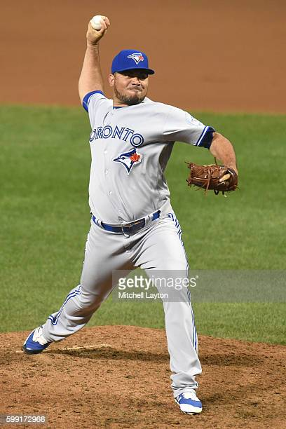 Joaquin Benoit of the Toronto Blue Jays pitches during a baseball game against the Baltimore Orioles at Oriole Park at Camden Yards on August 31 2016...