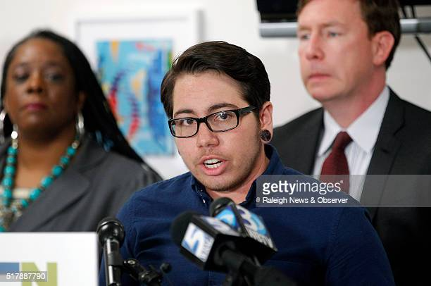 Joaquin Carcano center the lead plaintiff in the case speaks during a press conference to announce filing of federal lawsuit challenging North...