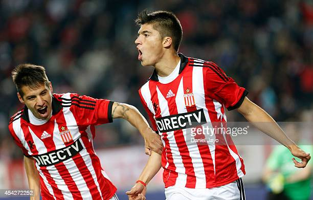 Joaquin Correa of Estudiantes celebrates after scoring during a match between Estudiantes and Boca Juniors as part of forth round of Torneo de...