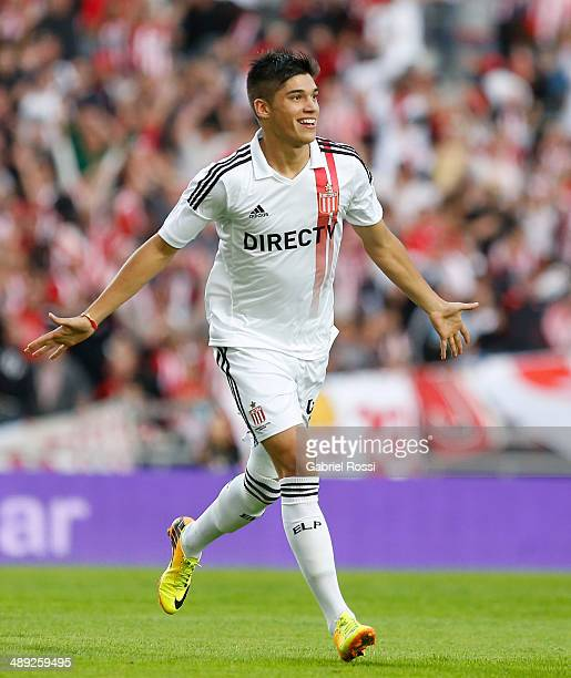 Joaquin Correa of Estudiantes celebrates after scoring the opening goal of his team during a match between Estudiantes and San Lorenzo as part of...