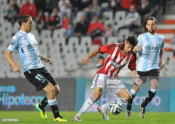 Joaquin Correa of Estudiantes Controls the ball during a match between Estudiantes and Racing Club as part of Torneo de Transicion 2014 at Ciudad de...
