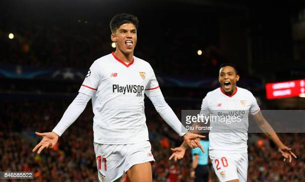 Joaquin Correa of Sevilla celebrates scoring his sides second goal during the UEFA Champions League group E match between Liverpool FC and Sevilla FC...