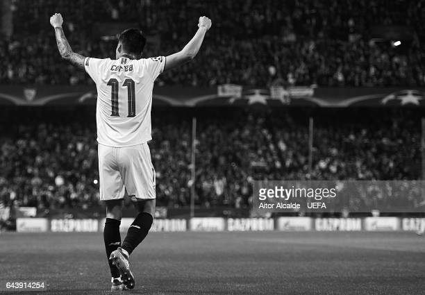 Joaquin Correa of Sevilla FC celebrates after scoring during the UEFA Champions League Round of 16 first leg match between Sevilla FC and Leicester...
