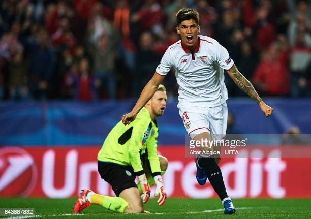 Joaquin Correa of Sevilla FC celebrates after scoring the second goal for Sevilla FC during the UEFA Champions League Round of 16 first leg match...