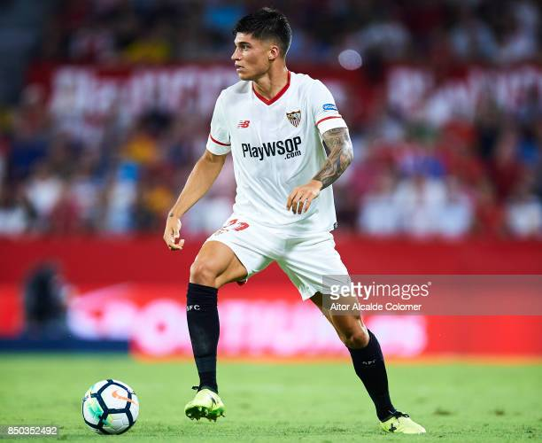 Joaquin Correa of Sevilla FC in action during the La Liga match between Sevilla and Las Palmas at Estadio Ramon Sanchez Pizjuan on September 20 2017...