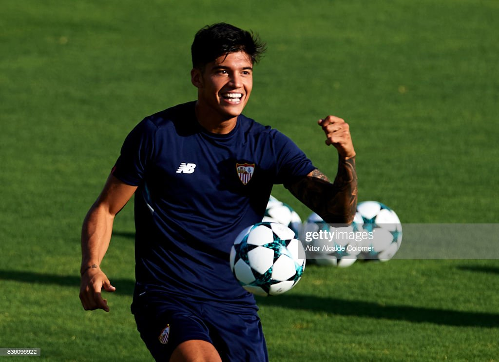 Joaquin Correa of Sevilla FC in action during the training session prior to their UEFA Champions League match against Istanbul Basaksehir at the Sevilla FC training ground on August 21, 2017 in Seville, Spain.